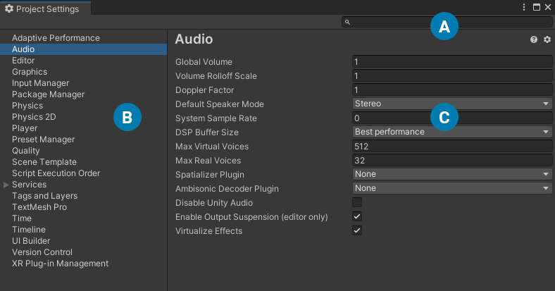 Unity - Manual: Project Settings