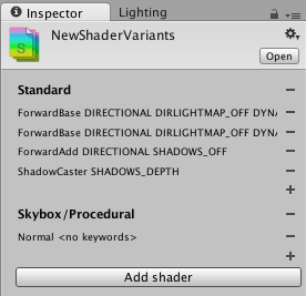 Shader variant collection inspector