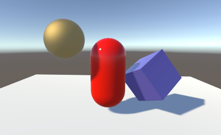 Scene with GameObjects casting shadows
