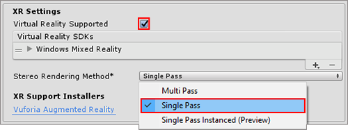 Selecting Single Pass rendering from the Players XR Settings panel