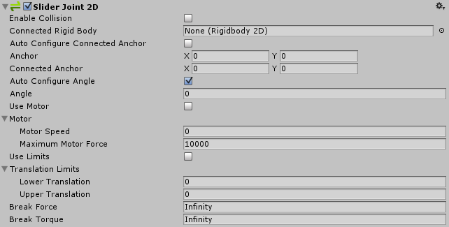 Unity - Manual: Slider Joint 2D