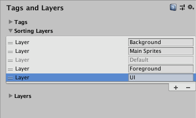 The Sorting Layers list, showing four custom sorting layers