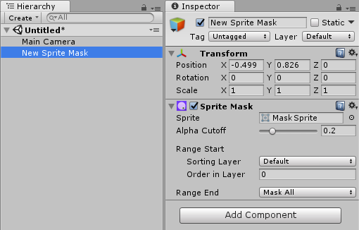 A new Sprite Mask GameObject is created in the Scene