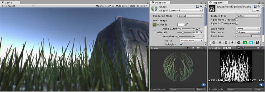 The grass in this image is rendered using the Cutout mode. This gives clear sharp edges to objects which is defined by specifying a cut-off threshold. All parts of the image with the alpha value above this threshold are 100% opaque, and all parts below the threshold are invisible. To the right in the image you can see the material settings and the alpha channel of the texture used.