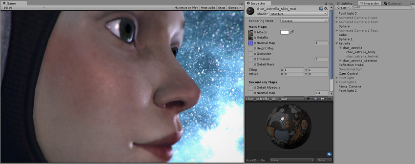 This character has a skin texture map, but no detail texture yet. We will add skin pores as a detail texture.