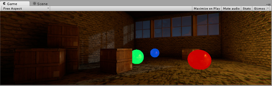 Red, Green and Blue spheres using emissive materials. Even though they are in a dark Scene, they appear to be lit from an internal light source.