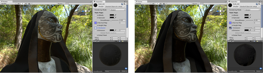 Before and after applying an occlusion map. The areas that are partially obscured, particularly in the folds of fabric around the neck, are lit too brightly on the left. After the ambient occlusion map is assigned, these areas are no longer lit by the green ambient light from the surrounding wooded environment.