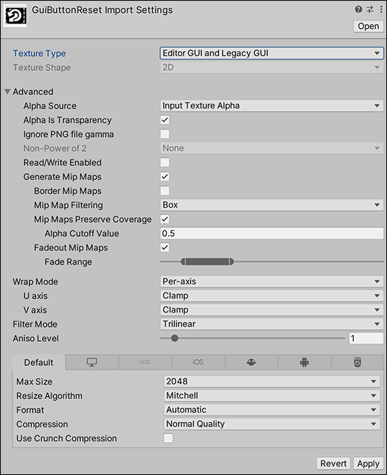 Texture Inspector window - Texture Type:Editor GUI and Legacy GUI