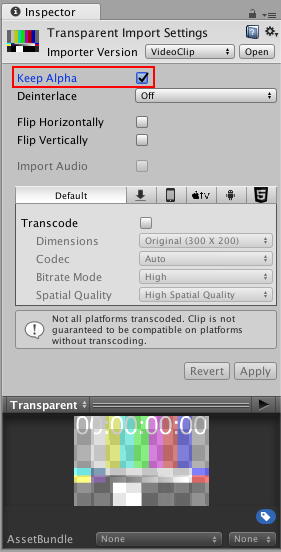 Unity - Manual: Video transparency support