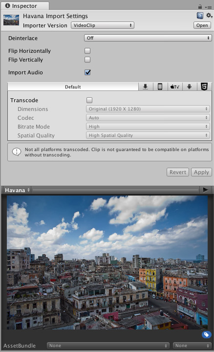 A Video Clip Asset called Havana, viewed in the the Inspector window, showing the Video Clip Importer options