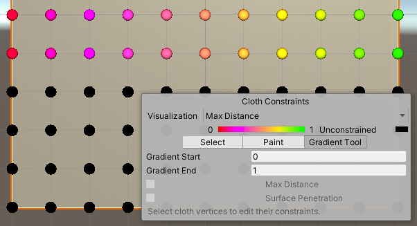 The Cloth Constraints Tool in Gradient mode.