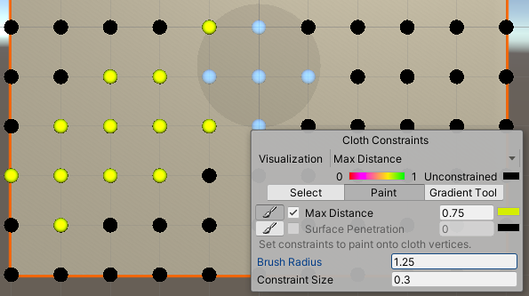 The Cloth Constraints Tool in Paint mode.