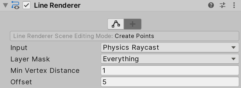 Line Renderer in Create Points Scene Editing Mode