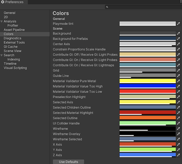 Colors scope on the Preferences window