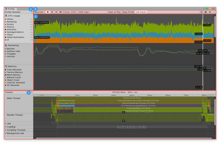 The Profiler window, with the CPU Usage Profiler module selected