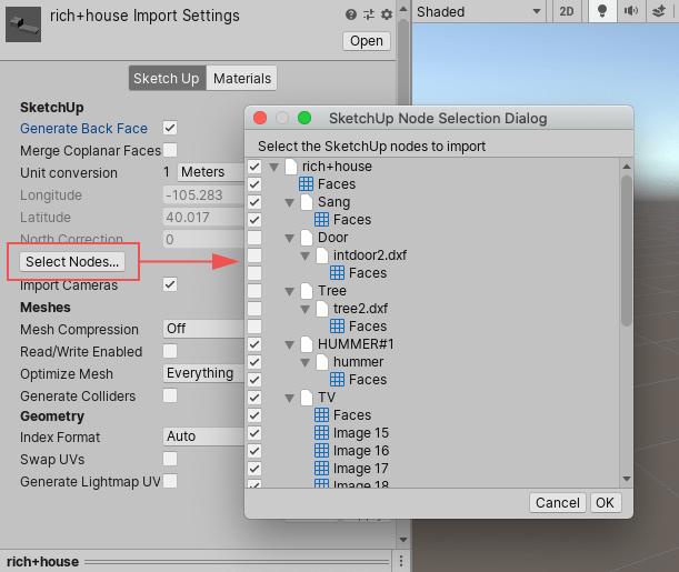 SketchUp节点选择对话框窗口