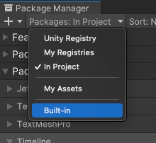 Switch the list context to Built-in packages