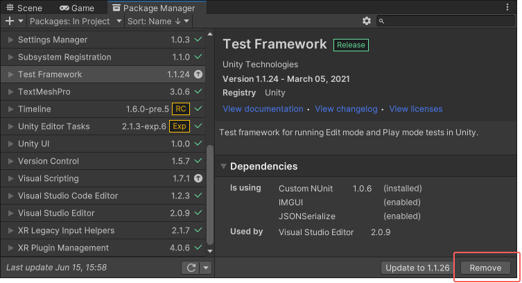 Unity - Manual: Removing an installed package