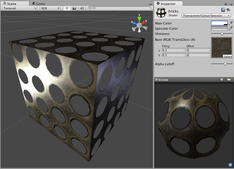 Unity - Manual: Transparent Cutout Specular